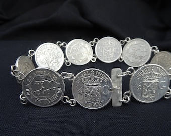 Old silver coins bracelet