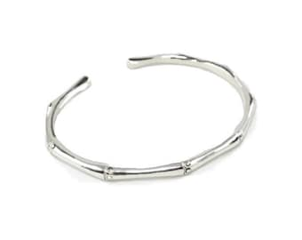 Womans Solid Silver Bamboo Torque