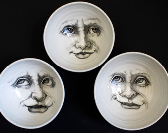 Moon Bowl, Man in the Moon Bowl, Unique Pottery for the Home, Decorative BowlA Decorative