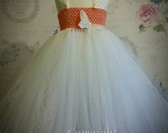 Handmade Bridesmaid Flower Girl Tutu Dress - Wedding,  Birthday, Party, Photo Prop, Pageant