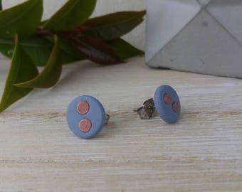 Blue with two pink dots stud earrings, surgical steel posts, fun earrings handmade in Melbourne