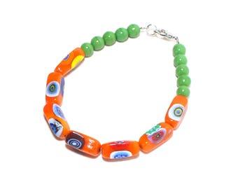 Venice millefiori orange glass beaded layer stack bracelet