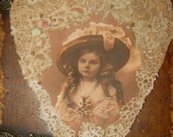 Vintage Lace Collage Hanging Heart Edwardian Hat Girl