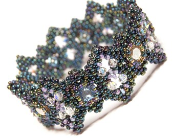 Beading Bangle Pattern - Ophelia - PDF tutorial using cubic right angle weave (CRAW)