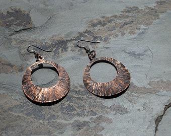 Hammered Copper New Moon Earrings/ Handmade Copper Earrings/ Copper Earrings