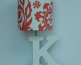 Small Premier Prints Coral Suzani Fabric Drum Lamp Shade