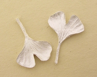 small ginkgo leaves, sterling silver, cast gingko leaves, leaf casting UL046-2