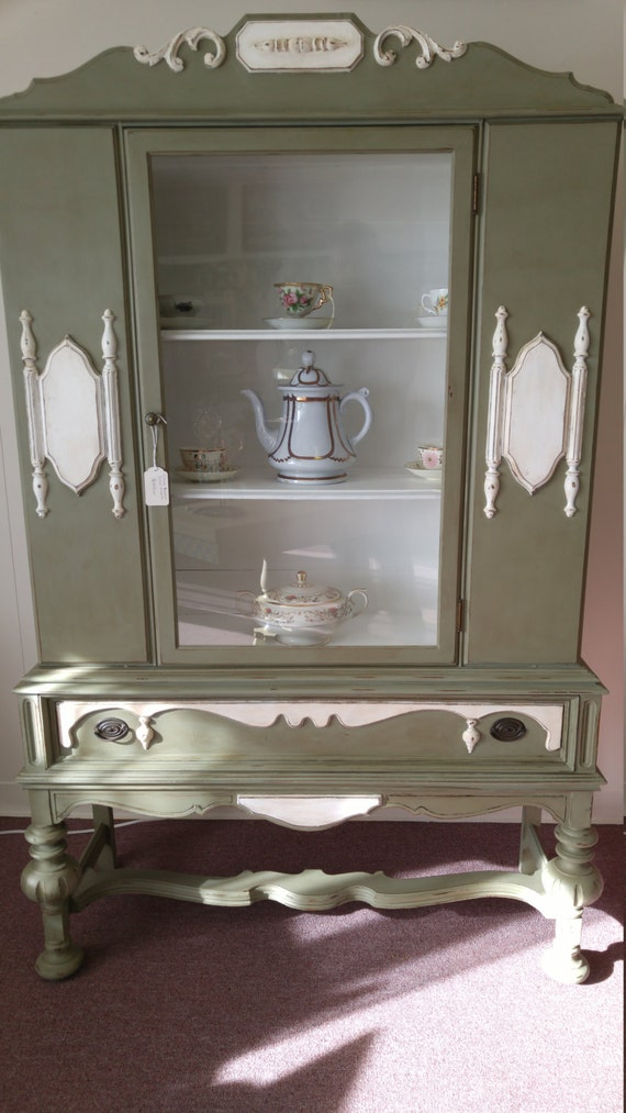 1930 S Hand Painted Antique China Cabinet Hutch 2 Days