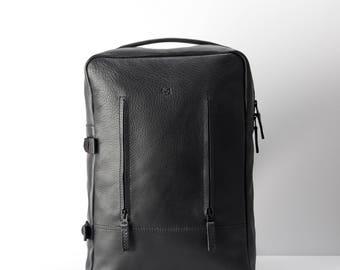 Black Leather Backpack, 15-inch Laptop Rucksack, Back To School. Travel Designer Bag. Personalized Gifts For Men. Mens Bags. Custom Monogram