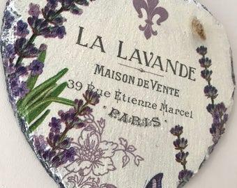 Slate heart, lavender decor, purple decor, la lavande home decor, french plaque, slate heart, country home decor,  birthday gift