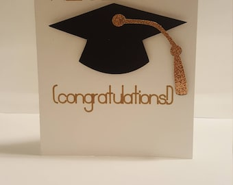 Congratulations, Graduation cap gold & glitter congratulations card, For Him, For her, Sister, Brother, Daughter, Son, Niece, Nephew