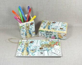 Peter Rabbit Gift Set: Door Plaque, Keepsake Box, & Pencil Pot, Peter Rabbit Decor, Baby Shower, Peter Rabbit Nursery, Free Gift Wrapping!