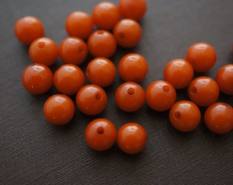 Rich Brown Amber Round Made with Natural Resins Beads - 6mm- 20 pcs