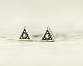 Silver Stud Earrings Sterling Silver Triangle Earrings Bohemian Jewelry - CST002SSO