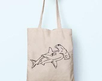 Hammerhead Shark Illustration Drawing Cotton Shopper Model Tote Canvas Bag Shopping Gym Books Tumblr Funny Joke Boy Girl Sack Cotton Gift