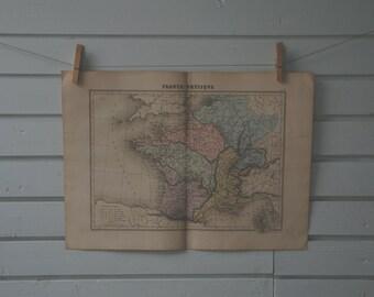 1887 Vintage Map of France