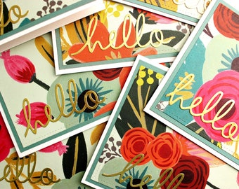 Floral Note Card Set, Blank Floral Note Cards, Floral Note Cards with Gold Foil Accents,