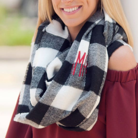 Londyn Infinity Scarf in Black and White Gingham Checks