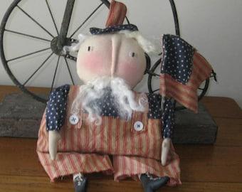 Uncle Sam Doll, Uncle Sam Shelf Sitter, Door Greeter, Patriotic Decor, Americana Uncle Sam, Uncle Sam Decoration, Patriotic Doll, FAAP