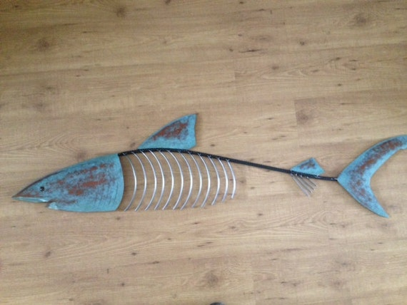 Shark Fish Sculpture 48in Tropical Beach Coastal Metal Art