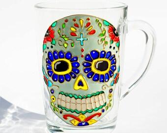 Sugar Skull Mug, Day of the Dead, Mexican Folk Art Mug, Dia de los Muertos