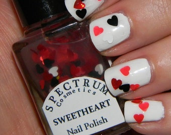 SWEETHEART Nail Polish Glitter Heart Top Coat