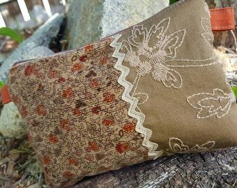 Corduroy Cosmetic Bag, Floral Makeup Bag, Corduroy Clutch