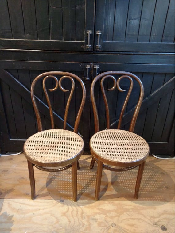 Set Of 2 Bentwood Cane Thonet Café Chairs Made In Romania