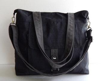 Sale - Water-Resistant Bag in black- messenger bag, tote, crossbody, shoulder bag, laptop, purse, everyday bag, handbag, diaper bag - AIMEE