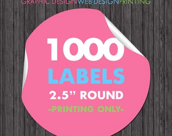 """Round Label Printing 1000 2.5"""" Stickers Full Color Printing Glossy"""