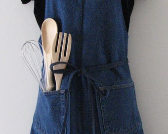 Denim Apron - Upcycled Denim Apron - Craft Apron - Garden Apron - Kitchen Apron - Workshop Apron - Work Apron - Men's Apron - Women's Apron
