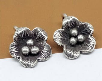 6 Karen Hill Tribe Silver Small Flower Charms, Plum Blossom Charms, Karen Tribe Silver Charms, Hill Tribe Silver Tiny Flower Charms - TR481