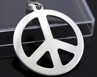 Peace logo pendant stainless steel hypoallergenic DIY necklace pendant