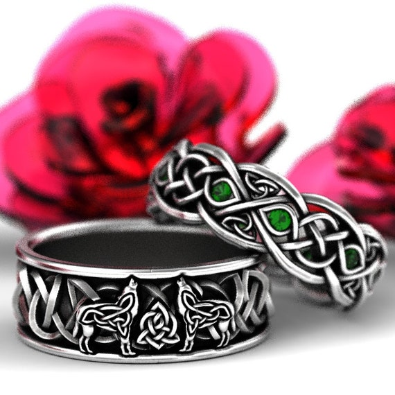 RESERVED FOR Connie 3 Payments for Sterling Silver Celtic Wolf & Emerald Ring Set, Celtic Wolf Jewelry, Custom Ring Design 1170 1052