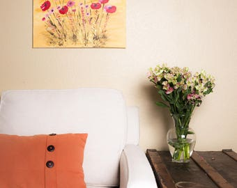Poppies painting on thin canvas, original painting 20x16in