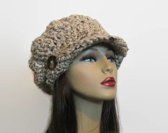 Oatmeal Newsboy Cap Oatmeal Tweed Newsboy Hat with Visor Hat with Buttons Adult Knit Newsboy Cap Crochet Beret with Brim Crochet Oatmeal Hat