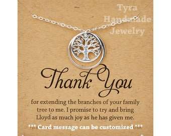 Family Tree karma Necklace,Mother's day gift,mother,Mother of the groom gift,mother in law gift,gift from bride to mom,personalized card