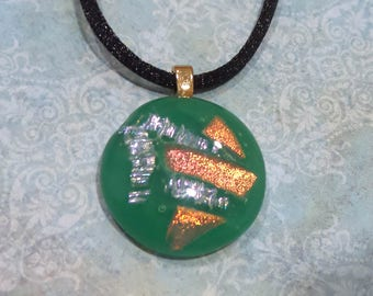 Green Necklace with Dichroic Accents, Jade Green Necklace, Fused Glass Jewelry, Ready to Ship, Womens Jewelry  - Copper Lady - 617 -4