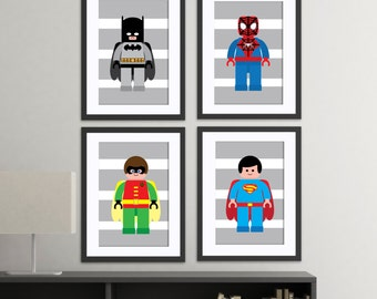 superhero wall art prints, super hero, set of 4 high quality prints, superhero bedroom, superhero nursery decor, gray stripes, modern