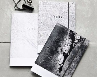 Concrete Textures Notebook Collection of Three, Minimalist Concrete Journale Set, minimal modern recycled paper pocket journal, Gift Set