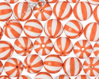 20mm - Orange Beach Ball Gumball Beads, 20mm Beach Ball Beads, 20mm Chunky Beads, Chunky Beach Ball Beads, Bubblegum Beads, 2MM Hole
