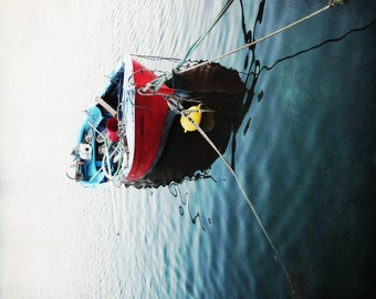 "Boat Photograph - Nautical Wall Art - Red White Blue - Boat Print - Greece Print - Wooden Fishing Boat ""Greece Boat Two"""