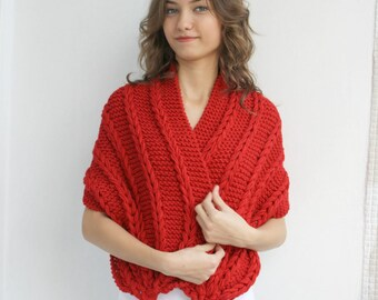 Hand Knitted Red Wool Rectangle Shawl / Red Knitting Scarf Shawl / Christmas gift / Gift For Her /  Outdoors Gift / Clothing Gift