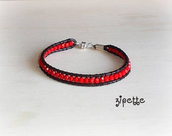 Leather wrap bracelet red beads