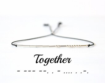 Valentines Day Gift Together Morse Code Bracelet Skinny Silk Cord Sterling Silver Beaded Bracelet Minimalist Best Friend Jewelry