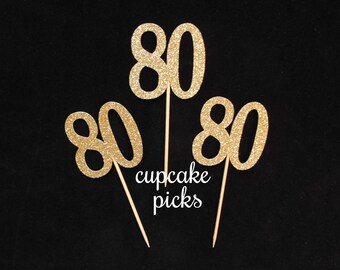 80th Birthday Cupcake Picks, 80th Cupcake Toppers,  80th Birthday Party Decorations