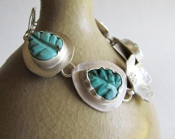 Kingman Turquoise Leaf Bracelet - Leaf and Flower Bracelet - Sterling Silver Flower Bracelet - 25th Anniversary Gift