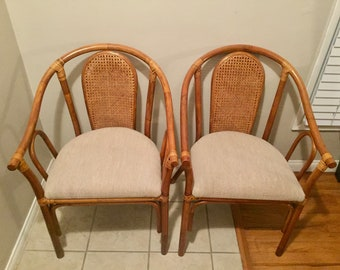 Vintage Rattan Cane Back Chairs