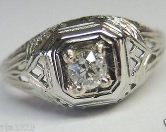 Antique Art Deco Vintage 18k White Gold Diamond Engagement Ring Size 6 uk-l 1/2 EGL USA Appraisal Included | RE: 443
