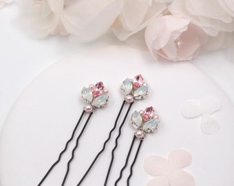 Hair Pins - White Opaline and Pink Crystal Rhinestones - Bridal Silver or Gold Hair Pins - Bun Pins -  Wedding Hair style -